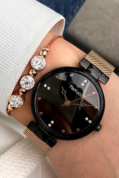 Ferrucci Kadın Çelik Kordon Kahverengi  Kol Saati + Bileklik Hediye