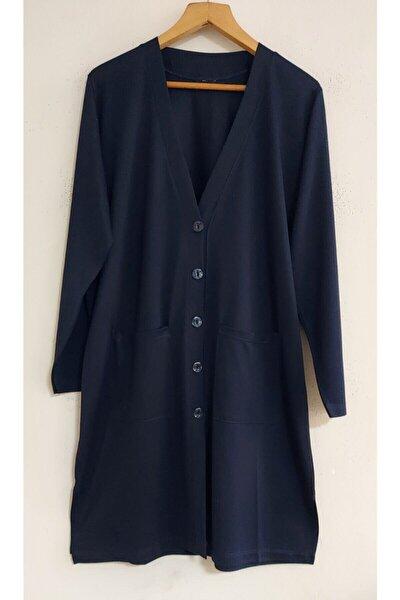 Nacar Kadın Lacivert Uzun Kollu Cepli Penye Tunik Ceket