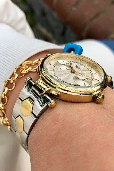 Ferrucci Kadın Altın Çelik Kordon Kol Saati + Bileklik