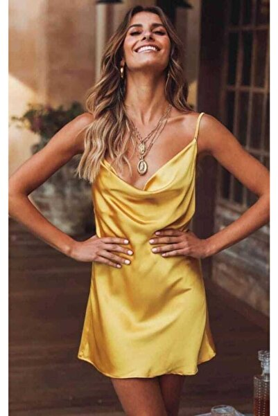 GLAMOURBAG Kadın Saten Fantazi Elbise