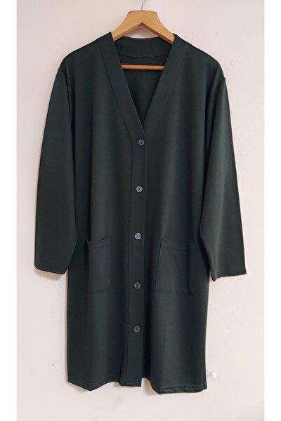 Nacar Kadın Yeşil Anne Uzun Kollu Cepli Penye Tunik Ceket