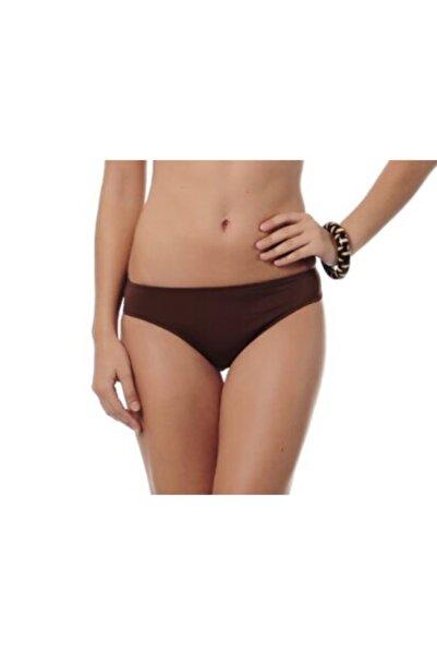 Kom Bikini Altı Renika Bayan Tek Bikini Altı Kalın Kenar Kahverengi