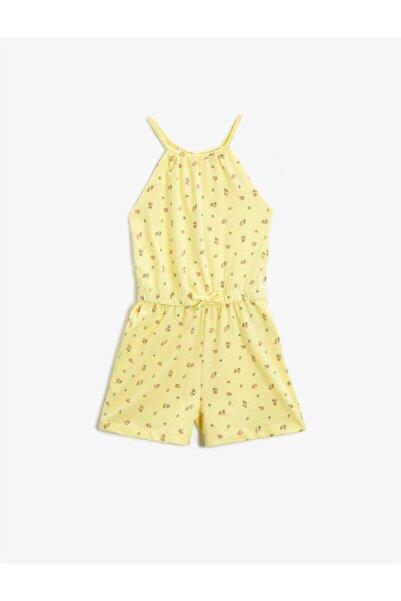 Koton Kız Çocuk Sarı Çiçekli Askili Sortlu Tulum