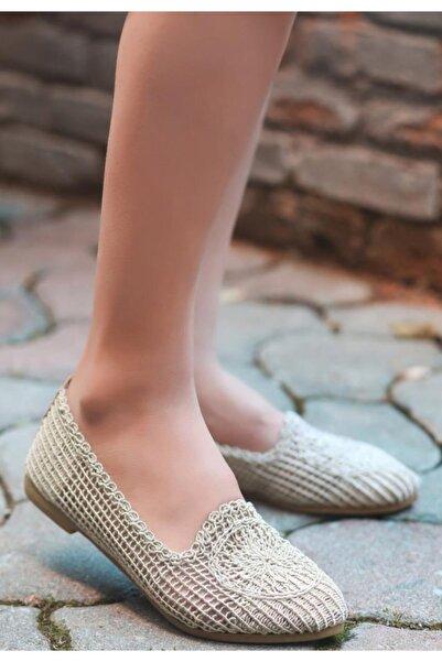 ESPARDİLE Rinz Kadın  Krem Örgülü Babet Ayakkabı