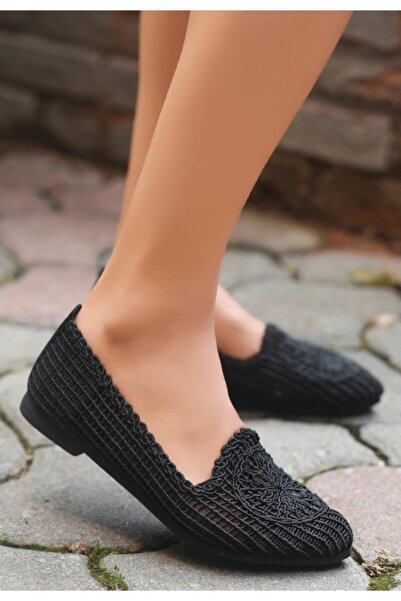 ESPARDİLE Rinz Kadın Siyah Örgülü Babet Ayakkabı