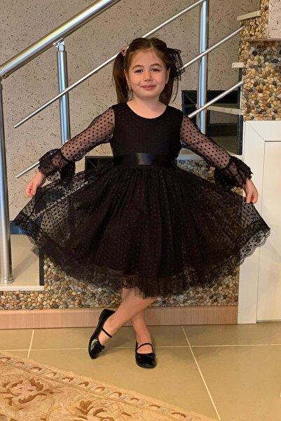 Miço Kids Kız Çocuk Siyah Dantelli Elbise