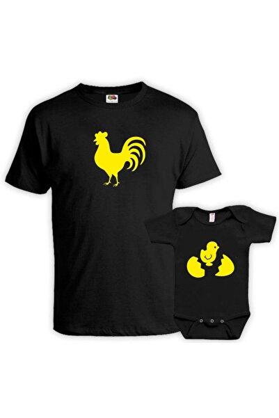 venüsdijital Horoz Civciv Baba Oğul Siyah Tshirt Zıbın (tekil Üründür Kombin Yapılabilir Fiyatları Ayrı Ayrıdır)