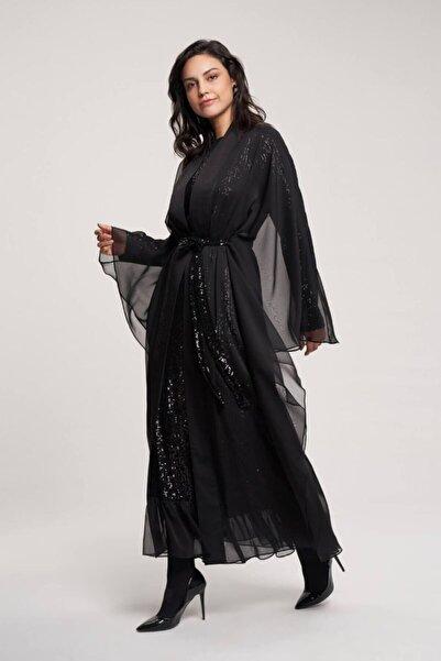 Orhan Payet Elbiseli Kuşaklı Ikili Takım - Siyah