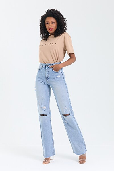 cracpot Kadın Wide Leg Lazer Kesim Likralı Pantolon