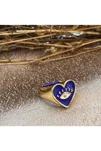 Markiz Takı Kadın Lacivert Kalp Göz Yüzük Ayarlanabilir