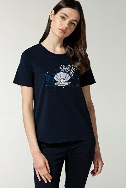 Nautica Kadın Lacivert Baskılı T-Shirt 15V522T