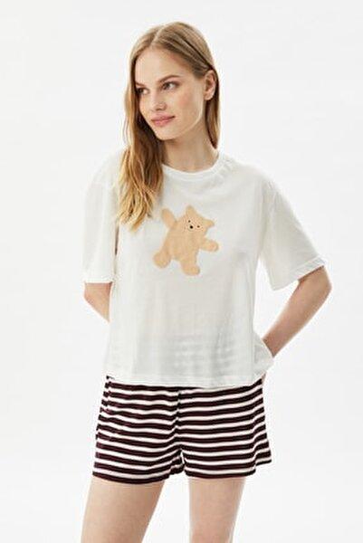 Bordo Baskılı Örme Pijama Takımı THMSS21PT1008