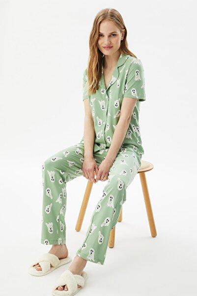 TRENDYOLMİLLA Mint Baskılı Örme Pijama Takımı THMSS21PT0193