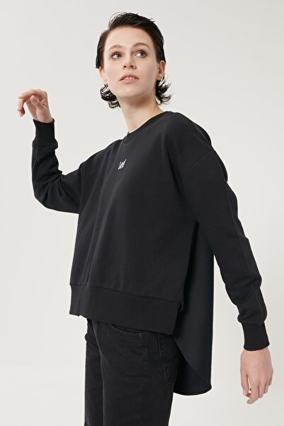 Lee Kadın Siyah Regular Fit %100 Pamuk Sıfır Yaka Sweatshirt