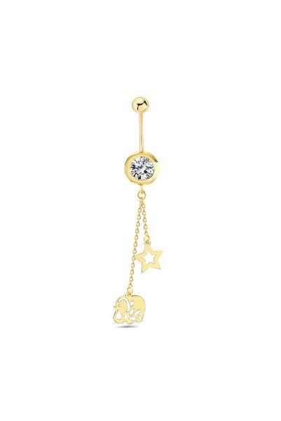 Tual Diamond 14 Ayar Fil Ve Yıldız Detaylı Sallantılı Altın Göbek Piercing