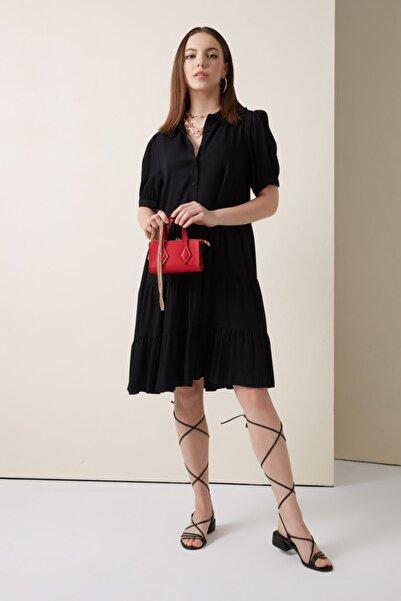 Gusto Bebe Yakalı Viskoz Elbise - Siyah