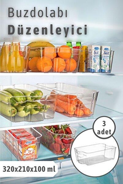 Bi' Home 3 Adet Clear Buzdolabı & Dolap Içi Düzenleyici Organizer Büyük
