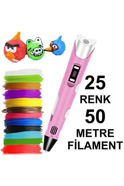 3D Pembe Kalem Yazıcı+25 Renk 50 Metre (25x2metre) Pla Filament