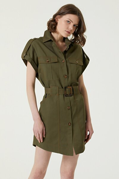 Network Kadın Slim Fit Haki İngiliz Yaka Mini Elbise 1078964