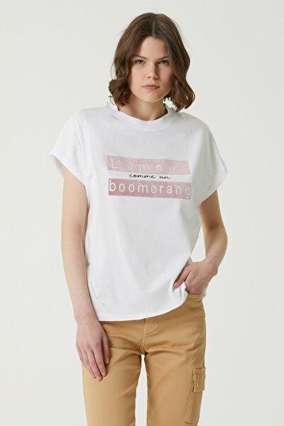 Network Kadın Basic Fit Beyaz Baskılı T-shirt 1079541