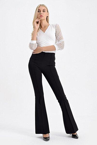 Jument Kadın Siyah Yüksek Bel Önü Arka Dikişli İspanyol Pantolon