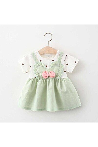 Little Honey Bunnies Siyah Puantiye Desenli Yeşil Elbise
