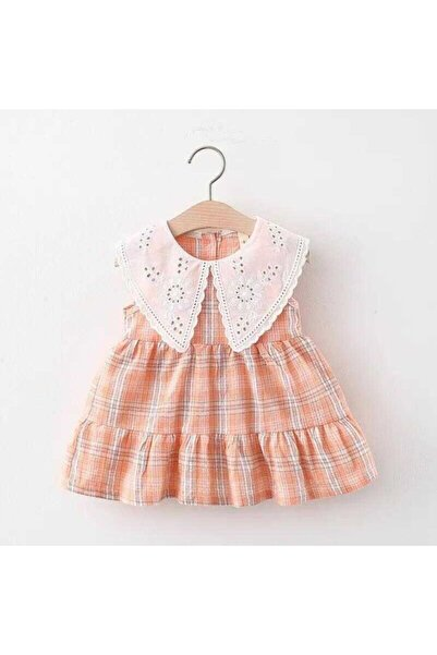 Little Honey Bunnies Fisto Yaka Detaylı Somon Ekose Elbise