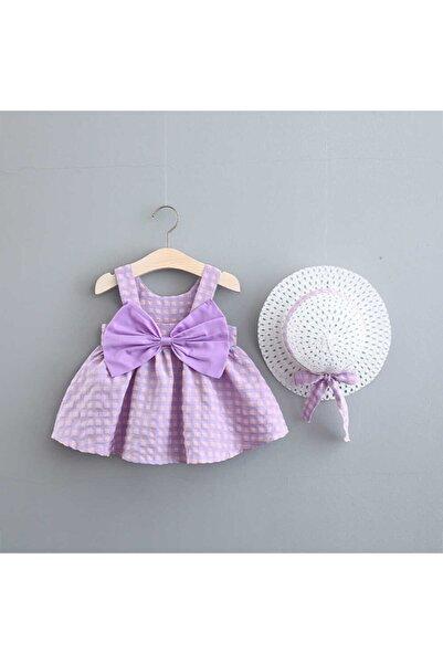 Little Honey Bunnies Mor Fiyonk Detaylı Ekose Elbise Ve Şapka 2'li Set