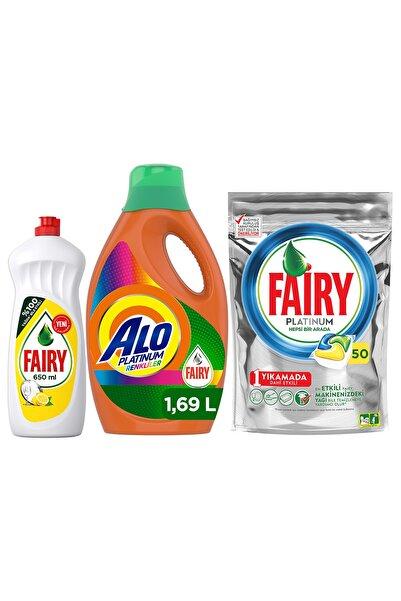 Alo Platinum Fairy Etkili 26 Yıkama Renkli + Fairy Platinum 50 Yıkama + Fairy 650 Ml Bulaşık Deterjanı