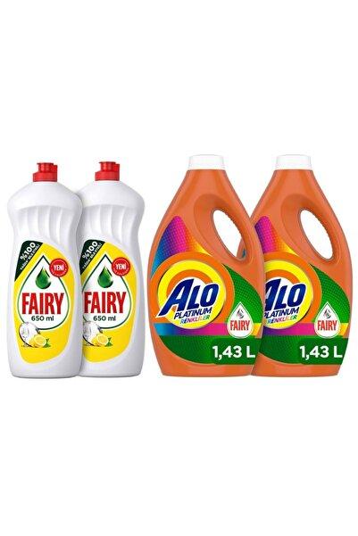 Alo Platinum Fairy Etkili 2x22 (44 Yıkama) Renkliler+fairy 2x650ml Sıvı Bulaşık Deterjanı