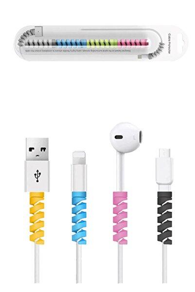 Cekuonline Spiral Kablo Koruyucu Silikon Şarj Kablosu Kulaklık Kablosu Koruyucu