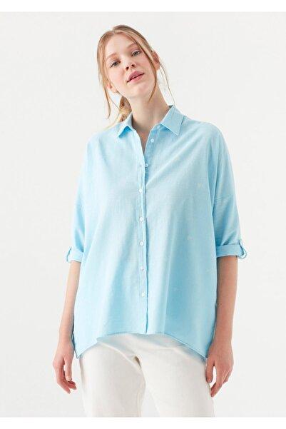 Mavi Kadın Mavi Kelebek Baskılı Gömlek
