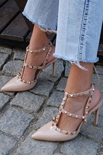 Kadın Pudra Stiletto Ayakkabı- 129