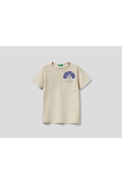 United Colors of Benetton Baskılı Keten Karışımlı T-shirt