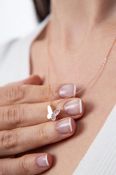 Elika Silver Kadın Beyaz Taş Detaylı Kelebek Model Gümüş Kolye 925 Ayar