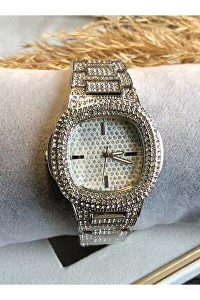Full 5a Zirkon Taşlı 38 Mm Gümüş Çelik Kasa Bayan Kol Saati