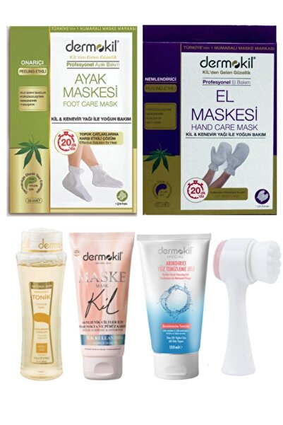Dermokil Aknejenik Yüz Maskesi + El Maskesi + Ayak Maskesi + Temizleme Toniği Ve Peeling Fırçası