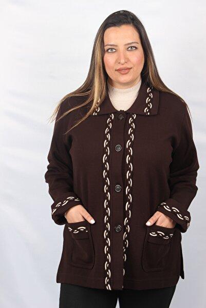 Sude Kadın Kahverengi Çelik Örgü Ceket 8250