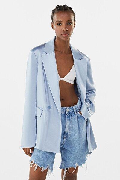 Bershka Kadın Açık Mavi Saten Blazer 01080200