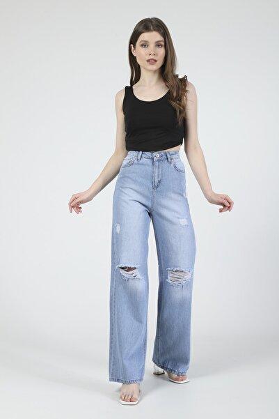 Meissa Mavi Kar Yıkama Yırtık Detaylı Bol Paça Jeans