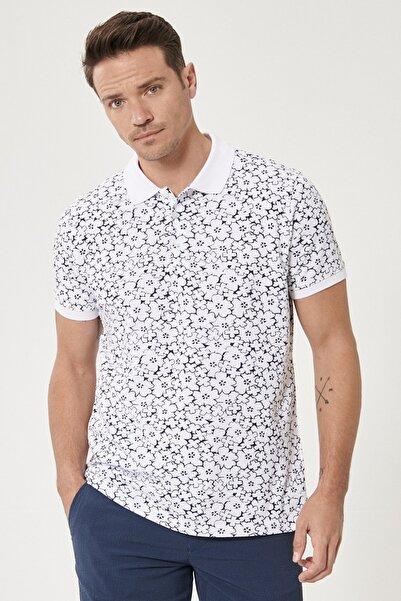 ALTINYILDIZ CLASSICS Erkek Beyaz-Lacivert Polo Yaka Cepsiz Slim Fit Dar Kesim %100 Koton Desenli Tişört