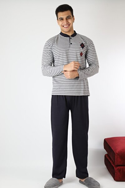 Rimoli Erkek Gri Çizgili Pijama Takımı