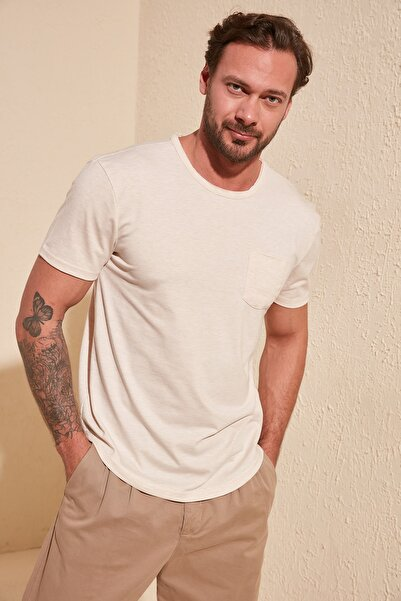 TRENDYOL MAN Taş Erkek Basic Regular Fit T-Shirt TMNSS20TS0973