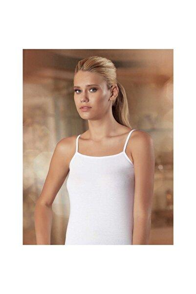 Sedef Yıldızı Kadın Beyaz İp Askılı Düz Biye Atlet 1055