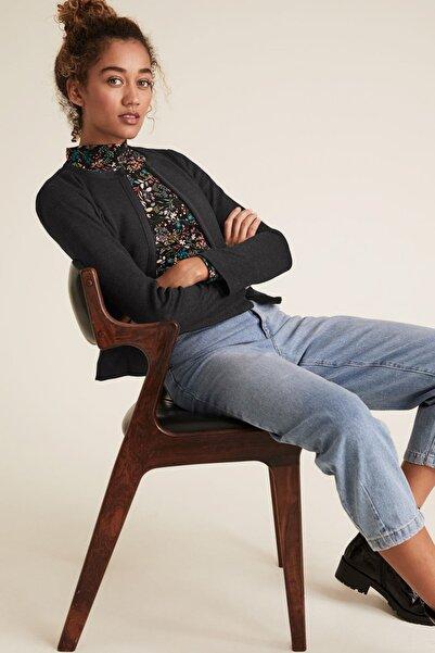 Marks & Spencer Kadın Siyah Jarse Slim Fit Ceket