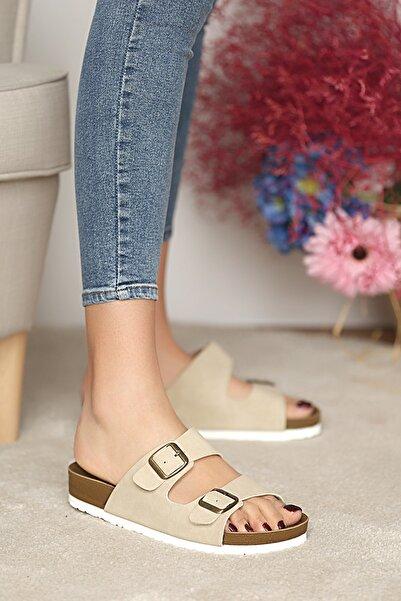 Pembe Potin Kadın Bej Sandalet