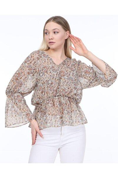 Pinza Şifon Çiçek Desenli Bluz