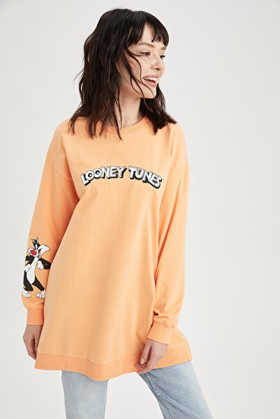 DeFacto Kadın Sarı Looney Tunes Lisanslı Relax Fit Sweatshirt