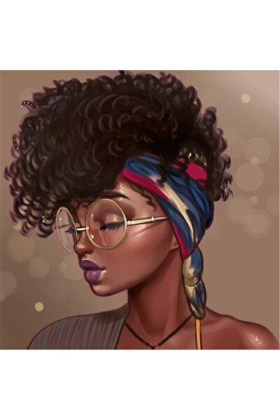 MOVAS Sanat Makyajlı Güzel Siyahi Kadın Elmas Mozaik Tablo / Boncuk Goblen 50 X 50cm E20203082m