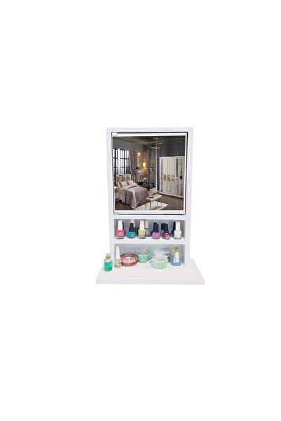 First Mobilya Beyaz Karanfil - Aynalı - Çok Amaçlı - Aksesuar - Takı Dolabı